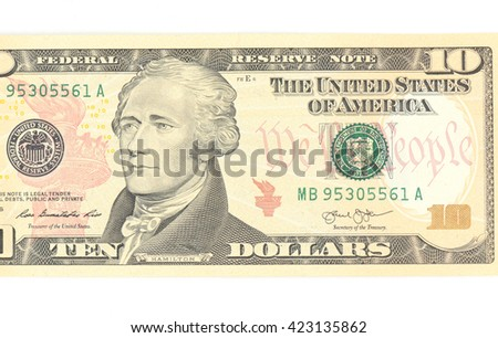 10  US dollar money isolated on white. - stock photo