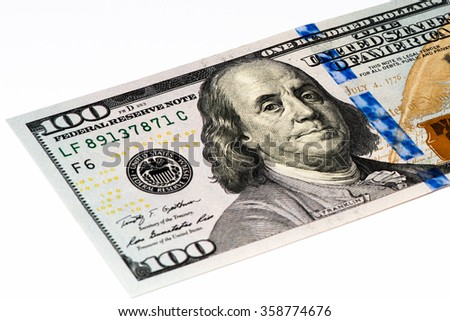 100 US dollars bank note made in 2009 - stock photo