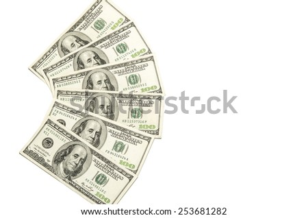 100 USA dollars banknotes fanned out on white  - stock photo
