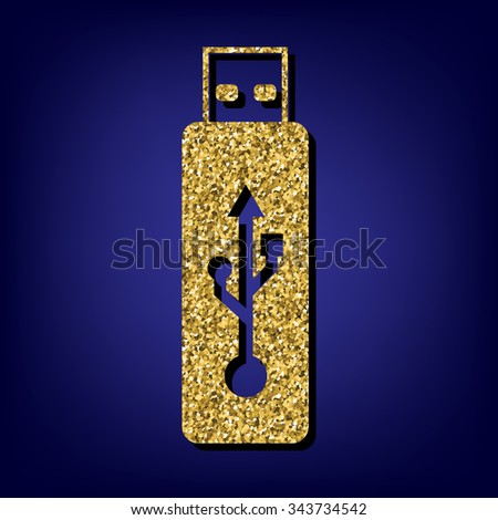usb flash drive illustration. Golden icon - stock photo