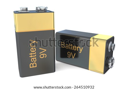9V batteries  isolated on white background - stock photo