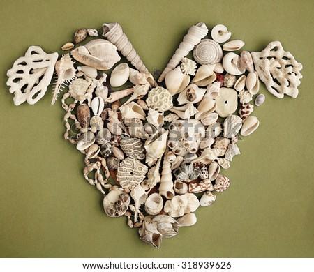 Valentine heart from seashells - stock photo