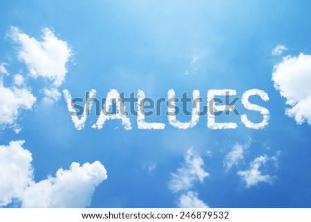 """values"" cloud word on sky. - stock photo"