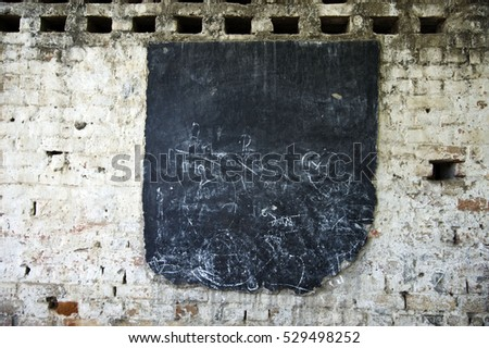Varanasi / India 24 June  2015 ,  Blackboard on brick wall at Varanasi   rural village  Uttar pradesh India