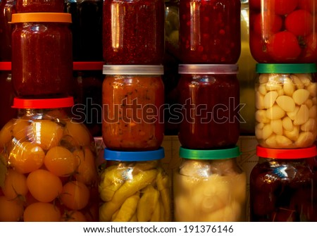 various canned vegetables and jam