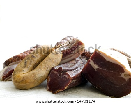 various delicious meat isolated on white background