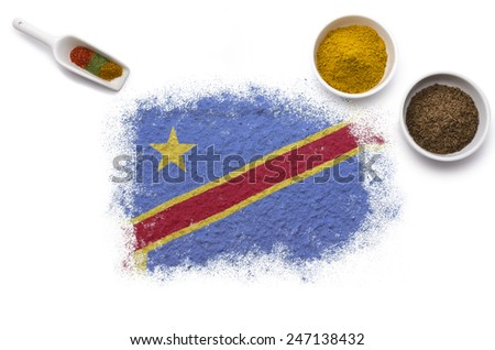 Various spices forming the flag of Democratic Republic of the Congo.(series) - stock photo