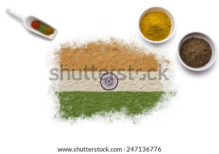 Various spices forming the flag of India.(series) - stock photo