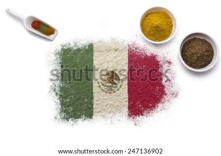 Various spices forming the flag of Mexico.(series)