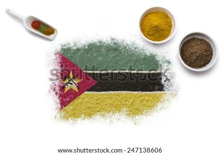 Various spices forming the flag of Mozambique.(series) - stock photo