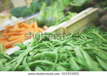 Various vegetables at farmers market close up - stock photo