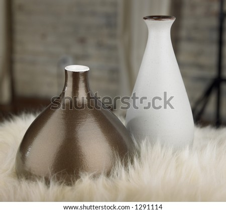 2 vases on fur - stock photo