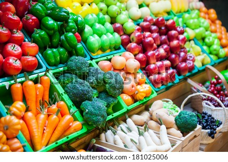 vegetable and fruits at a market. - stock photo