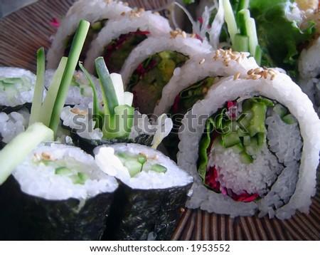 Vegetarian sushi - stock photo
