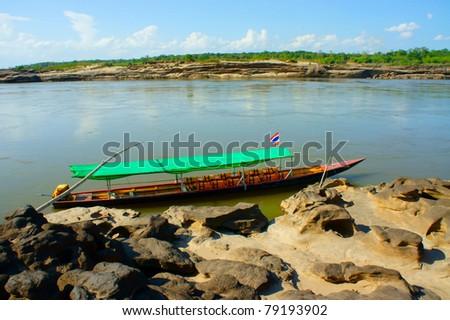 Vehicle wooden boat - stock photo