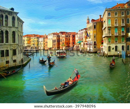 Venice, Italy. Illustration in oil painting style - stock photo