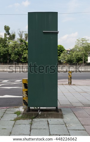 Vertical advertising street billboard on city - stock photo