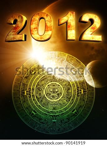 2012. Vertical background with Maya calendar - stock photo