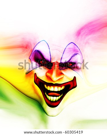 Very evil looking clown face on stretched skin. - stock photo