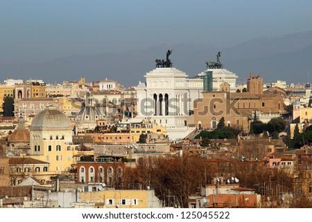 view above Altare della Patria and downtown of Rome, Italy - stock photo
