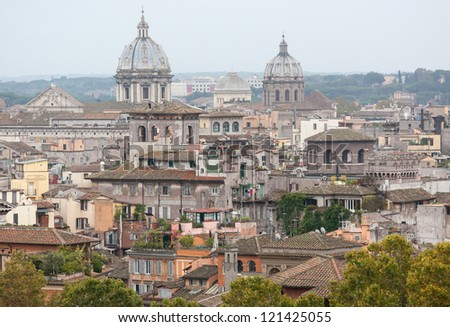 View above downtown of Rome, Italy.