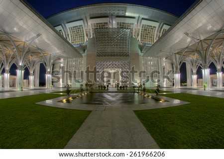 View Architecture Of Iron Mosque Putrajaya, Malaysia Image has grain or blurry or noise and soft focus when view at full resolution. (Shallow DOF, slight motion blur) - stock photo