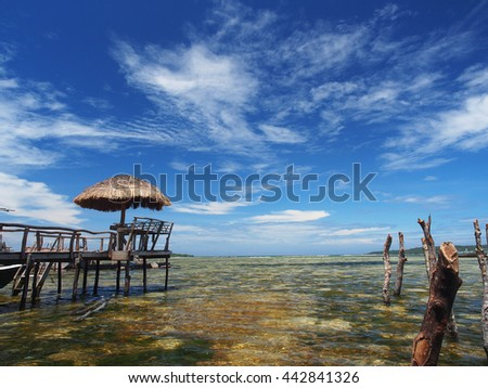 View from a fishing village in the Moluccas islands, Indonesia - stock photo