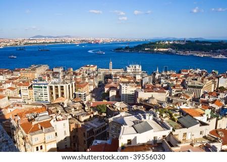 View from Galata tower to Bosphorus, Istanbul, Turkey - stock photo