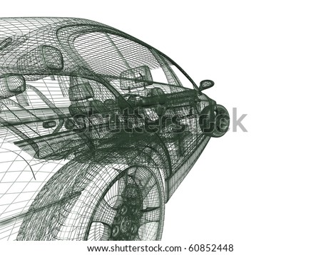 view of a car on white - stock photo