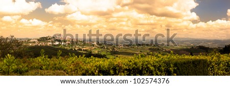 View of a Typical Tuscany Landscape in Springtime - San Gimignano Panoramic - stock photo