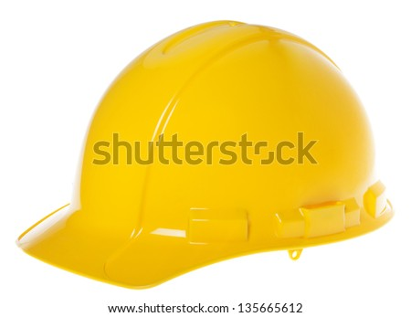 45�° view of a yellow hard hat, isolated on white background.