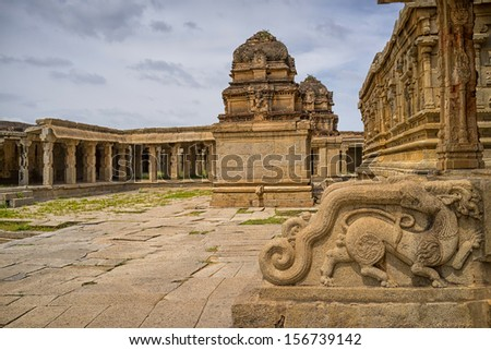 view of an lord krishna temple, Hampi, India - stock photo