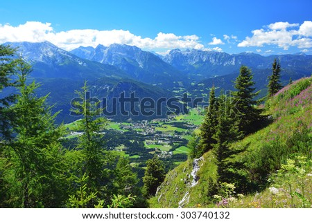 View of beautiful landscape in the Bavarian Alps Watzmann mountain in the background . Nationalpark Berchtesgadener Land, Bavaria, Germany