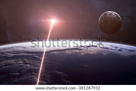 View of earth from space. Elements of this image furnished by NASA - stock photo