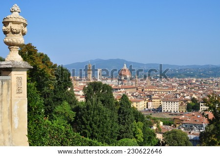 view of Florence city from terrace of Villa Bardini - stock photo