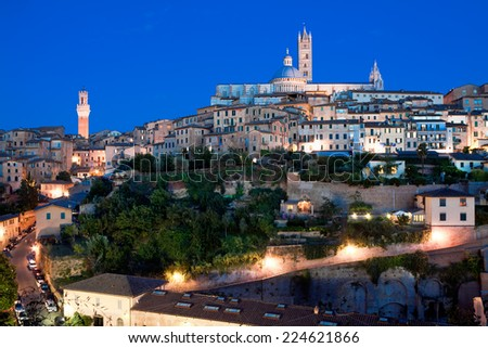 View of medieval old town of Siena, Italy - stock photo
