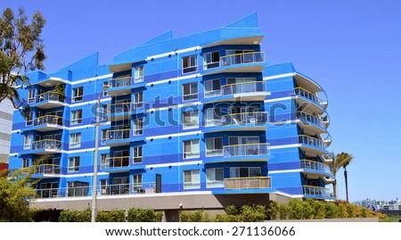 View of modern high-rise residential building. Marina del Rey, California. - stock photo