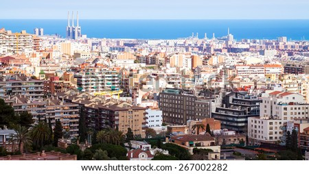 view of  residence district in Barcelona in sunny day