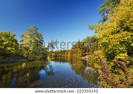 View of the lake with autumn yellow and green trees and blue sky, natural seasonal background