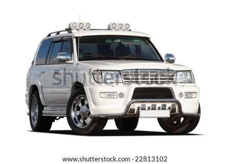 3/4 view of tuned luxury SUV isolated on white - stock photo