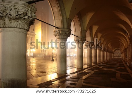 View of Venice the Palazzo Ducale arcade - stock photo