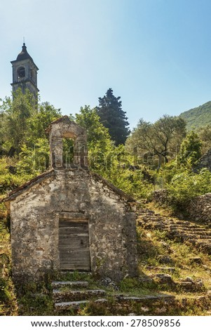 view on old ortodox church at moutains, Montenegro - stock photo