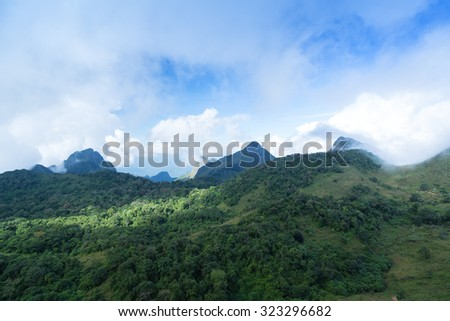 view scenic views from the mountain as a long part  is on the mountain ridges at Doi Luang Chiang Dao in Chiang Mai Thailand.