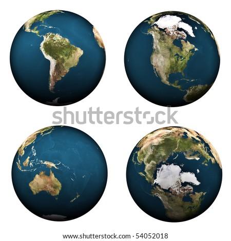 4 views on Earth (2) - stock photo