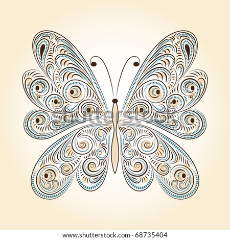 vintage butterfly with tracery - stock photo