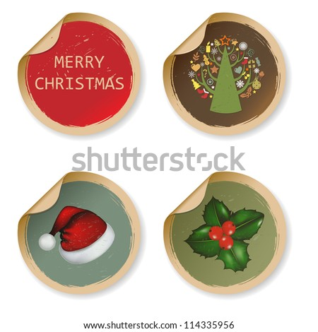 4 Vintage Christmas Labels, Isolated On White Background - stock photo