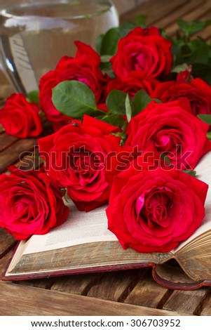 vintage old open book  on table with red roses - stock photo