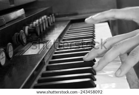 vintage piano - stock photo