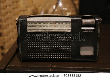 vintage radio, analog - stock photo