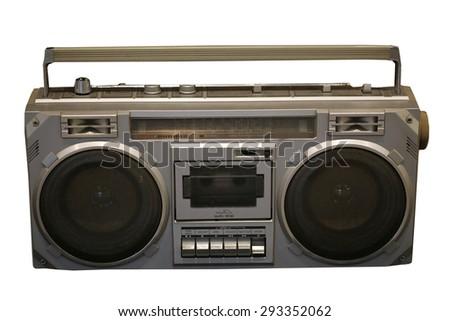vintage radio isolated - stock photo